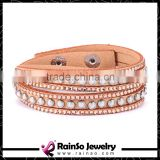 For CHRISTMAS DAY Slake Double Wrap Leather Rhineston Bangels Bracelet Wholesale