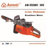 36v 5Ah 650w Brushless Li-Ion Chainsaw Industrial Log Splitters Machine Portable Cordless Wood Cutting Saw CS3601 with CE GS