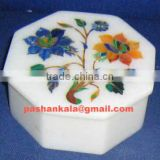 Marble Jewellery Boxes, Gemstone Inlay Marble Box, Jewellery Box, Marble decorative Item