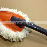 triangle head plastic handle white plush microfiber fluffy duster for house and car cleaning