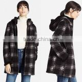 CUSTOM HOODY JACKET BLAZER WOMEN PRINTED FLUFFY LONG SLEEVE PLAID FLEECE COAT WINTER JACKET WOMEN