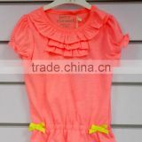 fashion children girl fluorescent color t-shirt with puckering