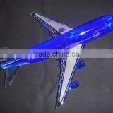 blue color crystal propeller-driven aircraft/airline/Boeing aeroplane for crystal transport models with engraved