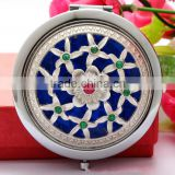 Metal Hollw Rhinestone Embessed Glass Lens Double Folding Mirrors