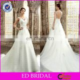CE498 V-Neck Sexy Backless Chapel Train Beaded White Wedding Dress Philippines