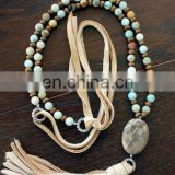 Long, boho style leather tassel necklace with chunky natural stone genuine stone beaded Necklace