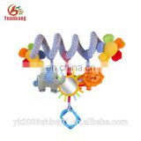 baby sound activated bed pram hanging plush spiral activity toy