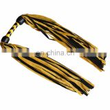 HMB-525A LEATHER FLOGGER DOUBLE TAILS WHIP YELLOW BLACK BULLWHIPS