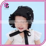 Little princess lace cap lace silk ribbon adjustable cap hat embroidery flower