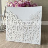 Customize pure White Hollow wedding invitation card new pocket design Laser Cut Cover hot sale with envelope