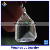 Fashion Necklace 2014 White Phantom Pyramid Natural Quartz Crystal Silver Pendant Healing