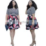 F20455A Fashion women plus size dresses plus size women clothing stripe t shirt floral printed skirt for fat ladies                                                                                                         Supplier's Choice