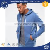Wholesale thin fleece dyed for man design blue oem service zipper own factory best selling plain slim fit hoodies