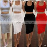 Stylish Lady Women's Casual Sexy High Elastic O-neck Sleeveless Tank Tops And Pencil Skirt Set