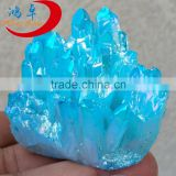 Blue Aqua Aura Crystal Quartz Cluster , Sparkly Raw cluster crystal quartz