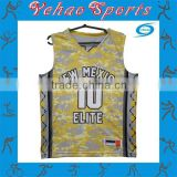 Custom cheap kids camo basketball jerseys yellow color