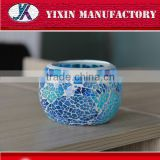 Mosaic glass ceramic blue and white candle holder                                                                                                         Supplier's Choice