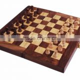 Store Indya Wooden Chess Set Decorative Folding Travel Chess Set With Royal Velvet Lining Kids Game
