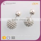 E74857K02 Copper Party Wear Wedding Earrings Silver Plating Jewelry Main Material Freshwater Pearl Two Sides Ball Stud Earring