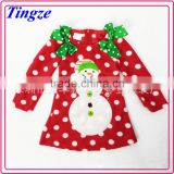 New model wholesale fancy girls christmas snowman clothing polar fleece baby dress TR-CA02
