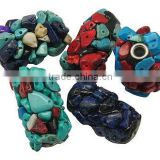 Handmade Indonesia Beads, with Copper Core and Gemstone Beads, Tube, Multicolor, about 18~22x32~34mm, hole: 3.8mm.(CLAY-G011)