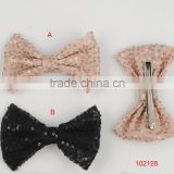 2014 new style /fashionable shiny rhodium hair clip/textured brown and black lace bows/sequins