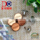 Shiny copper custom logo metal button jeans rivet for denim
