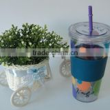 Eco-friendly 22OZ Plastic Single Wall Straw Cup With Silicon Heat Band                                                                         Quality Choice