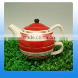 Creative design ceramic tea cup pot in one with stripe painting                                                                                                         Supplier's Choice
