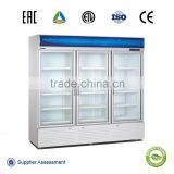 Convenience stores chiller cabinet triple glass doors upright display cooler/soft drink cooling freezer