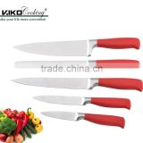 Hot selling red color handle stainless steel kitchen knife set non stick 5pcs knives set
