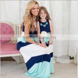 Wholesale 2016 Summer Fashion Family Matching Clothing Patchwork Round Neck Sleeveless Knit Blue Pink Mommy And Me Maxi Dress