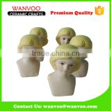 Eco-friendly Hand Painted Porcelain Doll Head Figurines for Decoration