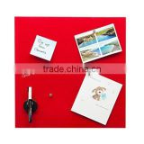 Glass Magnetic Memo Board (40cm x 40cm) with magnets, magnetic eraser and dry wipe ink pen. (Red)