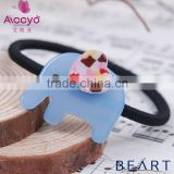 Bulk baby hair hair accessories black rubber band acrylic elastic hair band cover with crystal and cute animal