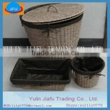 Eco-friendly round seagrss laundry hamper &basket with brown cloth liner closet storage bin