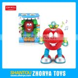 Cute kids electronic dancing toys with music and light funny design apple figure toy plastic electronic dancing apple toys