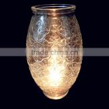 Lampshade Shaped Clear Glass Candlestic Holder