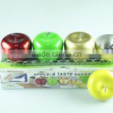 4 pcs apple style stainless steel salt and pepper shaker whit clourful
