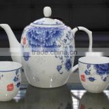 Elegant design hand painted blue and white Linglong porcelain antique silver tea set for home hospitality