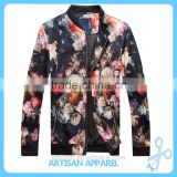 2017 Full Digital Flower Print Men's Nylon Bomber Jacket Wholesale Windproof Thick & Warm Jacket for men