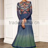 Blue color on embroidery heavy design at neck long Anarkali Designer Semi Stitch Salwar Kameez