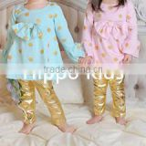 Wholesale long sleeve tunic dress top polkadots baby girl clothes big bow new model shirts