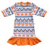 18 inch cute accessories doll dress 3/4 sleeve in pumpkin pattern ruffle hem for Halloween day