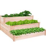 3 Tier Elevated Wooden Vegetable Garden Bed planter