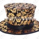 Folding Top Hat Magic Trick Costume Accessory Stage Prop Magician's Hat magic hat Black gold one