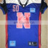 American football jersey with embroidered Team name and numbering