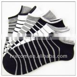 Mens Black White Sock With Stripe Pattern