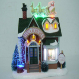 Christmas arts crafts 7'' Plastic santa workshop with led