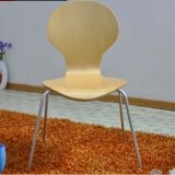Plating steel legs maple wood veneer plywood modern dining chair round head curved wooden computer chair